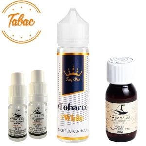 Pachet King's Dew 30ml - Tobacco White + 2 x Shot Nicotină + Bază 50ml
